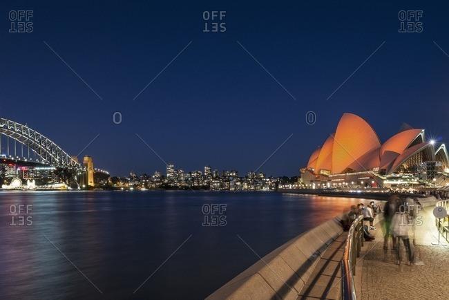 Sydney, Australia - November 2, 2016: Sydney Opera House and skyline at night