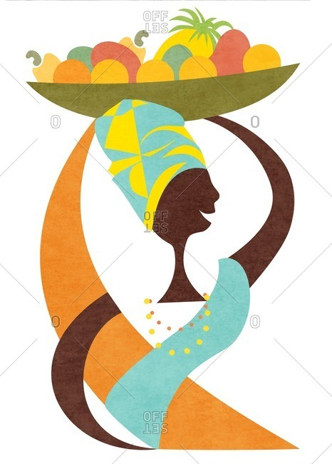 African woman carrying basket of fruit on her head
