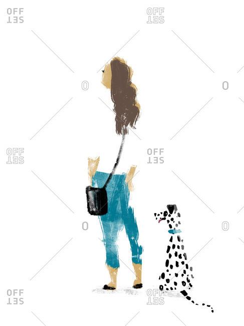 Woman and Dalmatian dog looking away