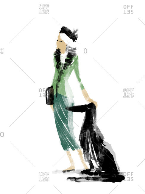 Stylish lady standing with Afghan dog