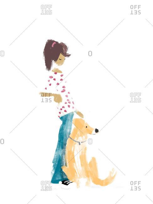 Woman petting a big dog