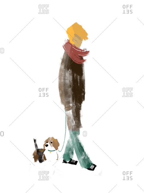 Man walking with his Beagle dog
