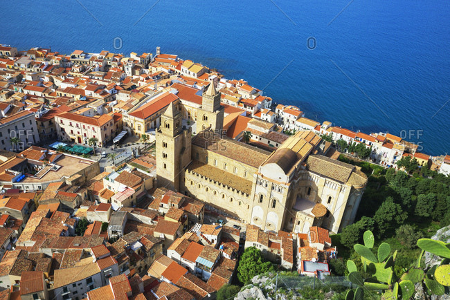 Aerial view of Cefalu from La Rocca, Cefalu, Sicily, Italy