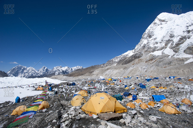 Khumbu Region, Nepal - April 14, 2009: Everest Base Camp, a temporary city at 5500m on the Khumbu glacier, Khumbu Region, Nepal, Himalayas, Asia