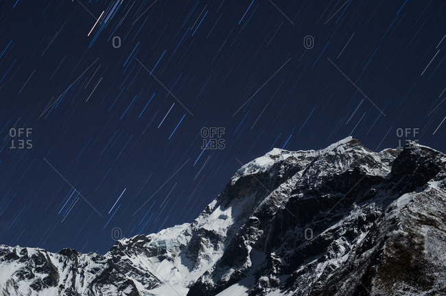 Star trails in the Manaslu region, Nepal, Himalayas, Asia