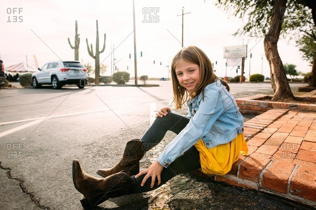 Girl in Western style boots