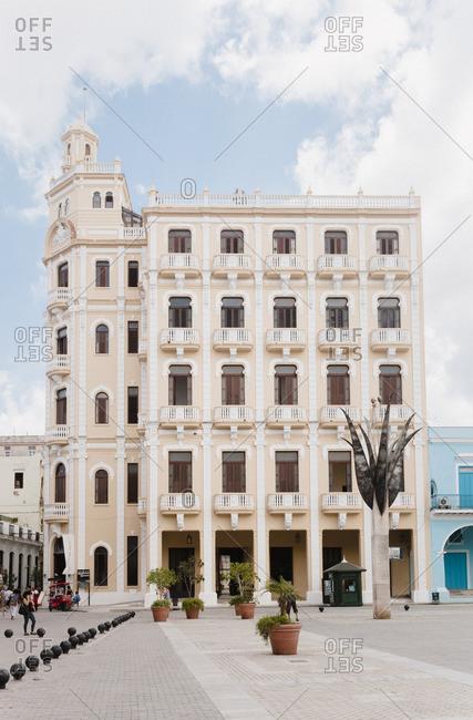 Havana, Cuba - April 10, 2015: A building in Plaza Vieja