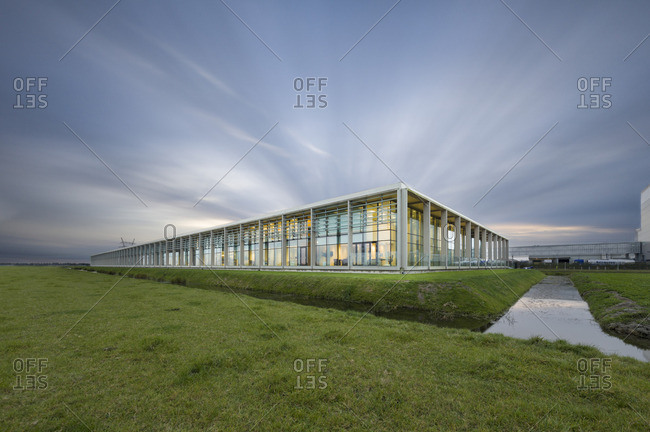 Westbeemster, Netherlands - October 28, 2016: A modern building near canals