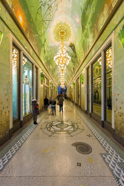 Amsterdamn, Netherlands - December 5, 2016: Ornate tile covered pedestrian tunnel