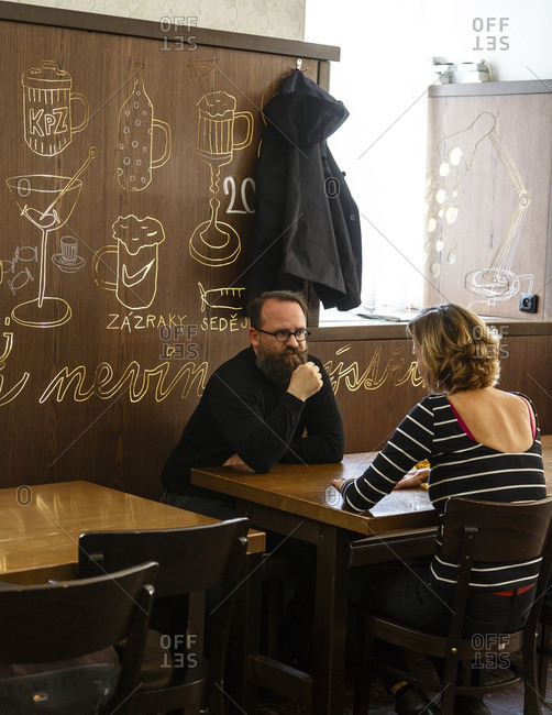 Prague, Czech Republic - May 3, 2016: Lokal Dlouhaaa restaurant and bar, serving traditional Czech food and beer