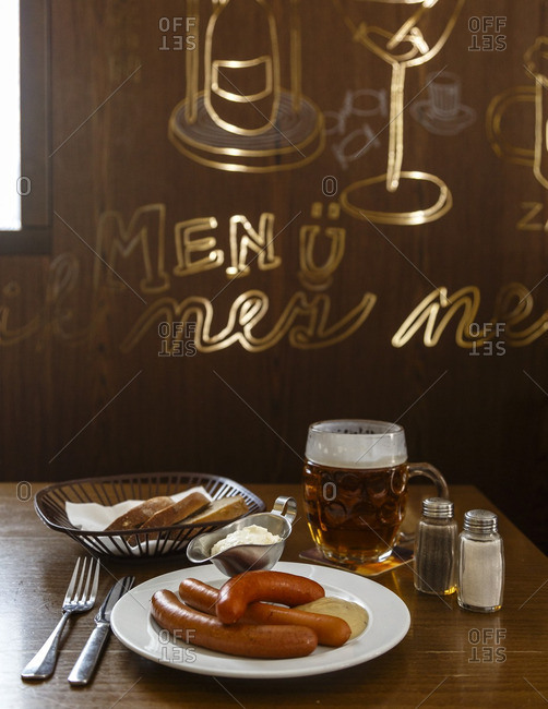 House-made sausages with whipped horseradish at Lokal Dlouhaaa restaurant and bar, serving traditional Czech food and beer, Prague, Czech Republic