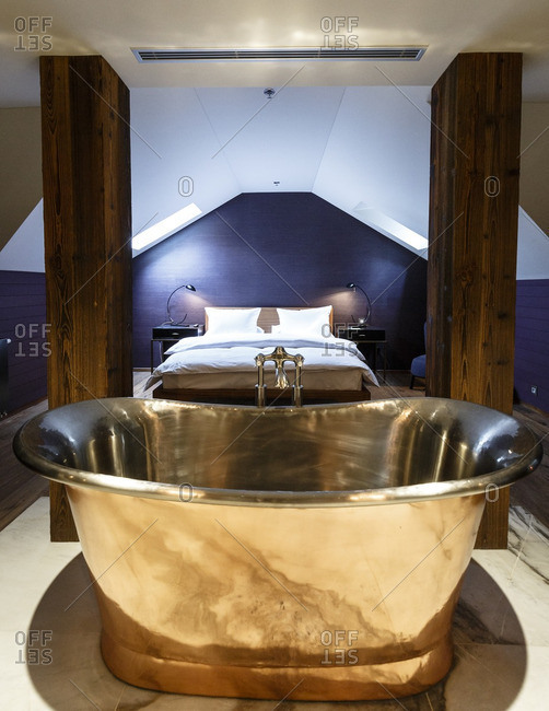 Prague, Czech Republic - May 3, 2016: Tub in the Library Suite at the Emblem Hotel, Prague, Czech Republic