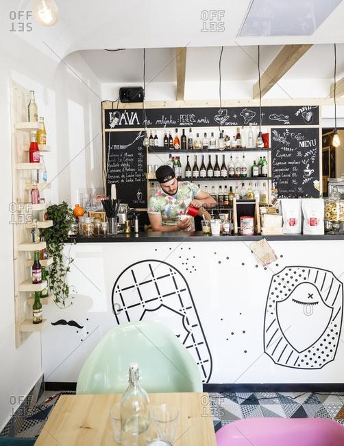 Prague, Czech Republic - May 5, 2016: Peter's Apartment Cafe, Prague, Czech Republic