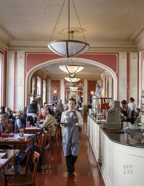 Prague, Czech Republic - May 5, 2016: Cafe Louvre, Prague, Czech Republic