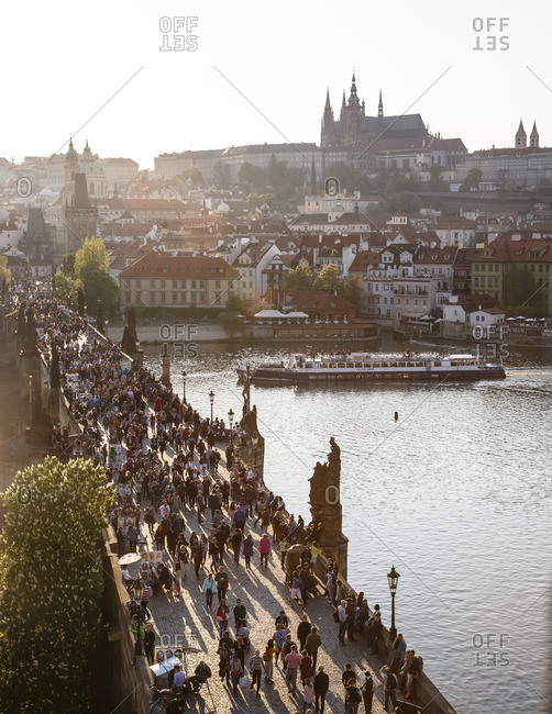 Prague, Czech Republic - May 5, 2016: High angle view over Charles bridge, the Castle and St. Vitus Cathedral, Prague, Czech Republic