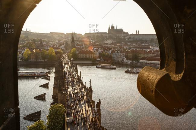 Prague, Czech Republic - May 5, 2016: View over Charles bridge, the Castle and St. Vitus Cathedral, Prague, Czech Republic