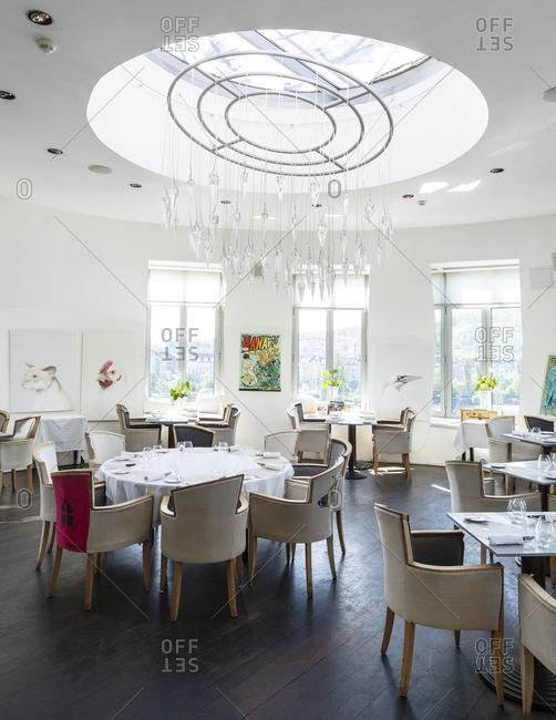 Prague, Czech Republic - May 7, 2016: Ginger and Fred restaurant at the Dancing Building, Prague, Czech Republic