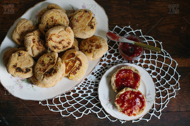 Overhead view of English muffins with jam