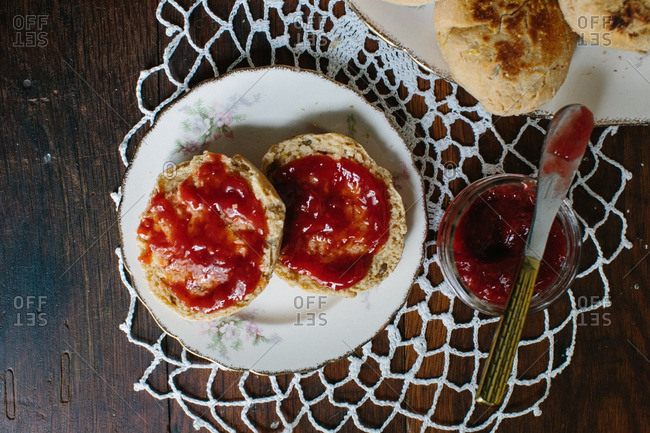 Close up of English muffins with jam