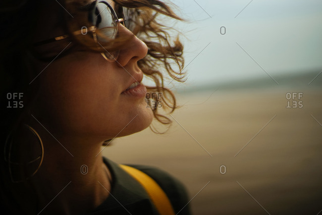 Close-up of woman with windblown hair on a beach