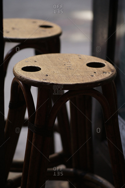 Vintage wooden stools in pub