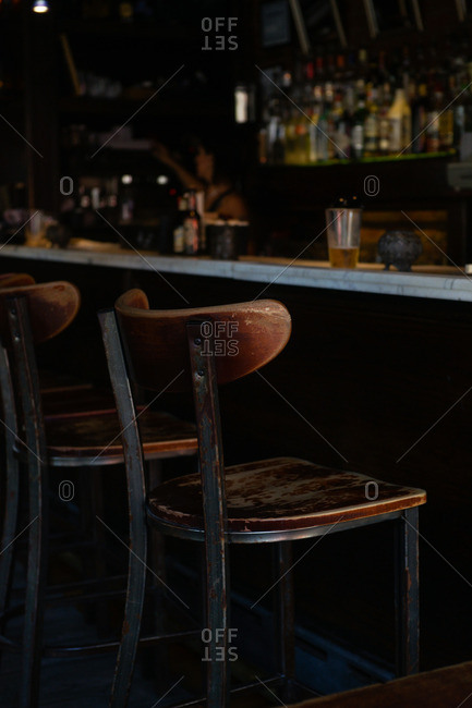 Vintage chairs at a bar