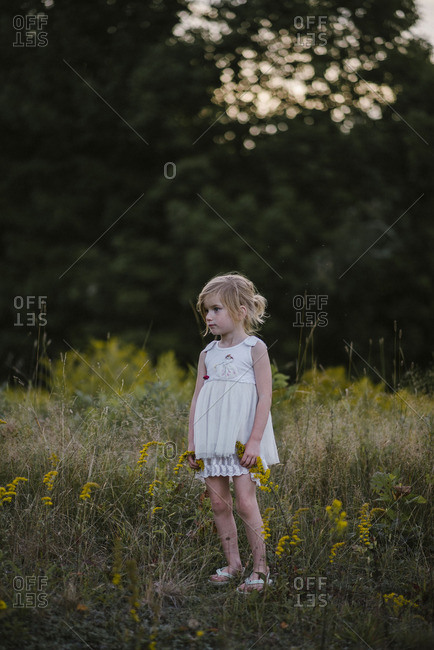 Little girl in a field with yellow flowers