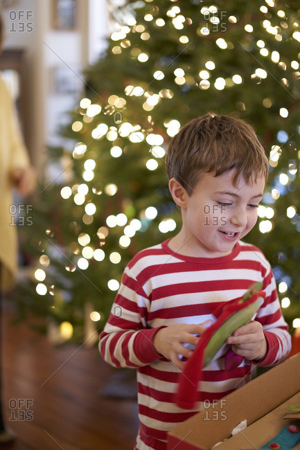 Happy boy looking at ornaments for a Christmas tree