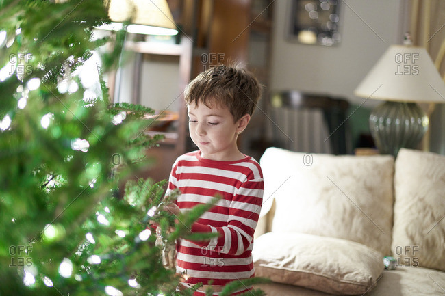 Young boy putting ornaments on a Christmas tree