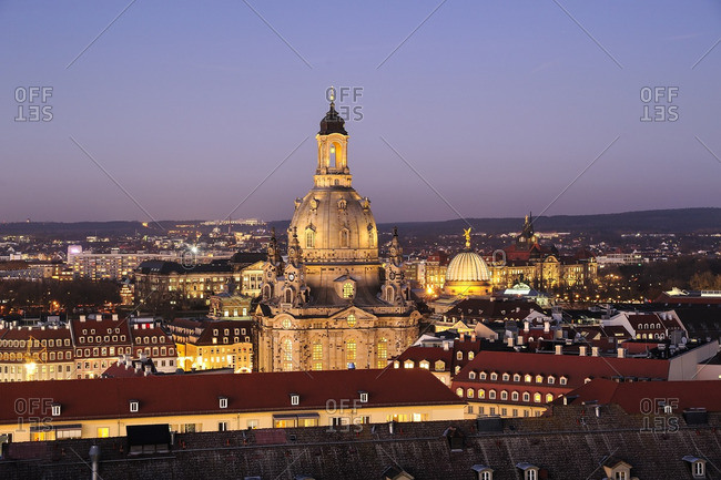 Germany- Dresden- Church of Our Lady in the evening