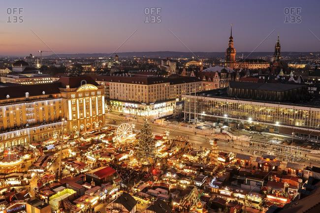Elevated view of Striezelmarkt Christmas market