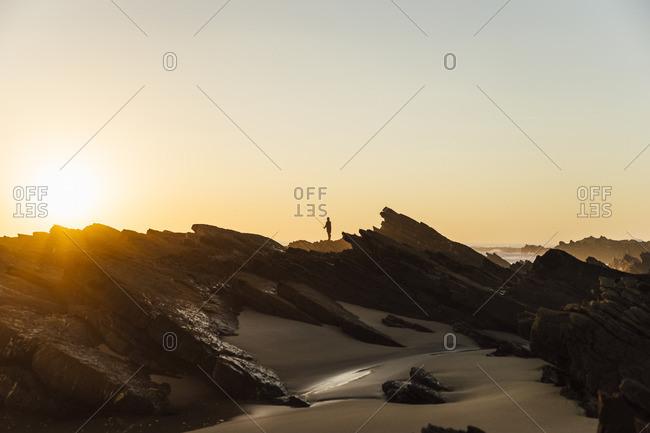 Portugal- Alentejo- Sunset at Zambujeira do Mar beach