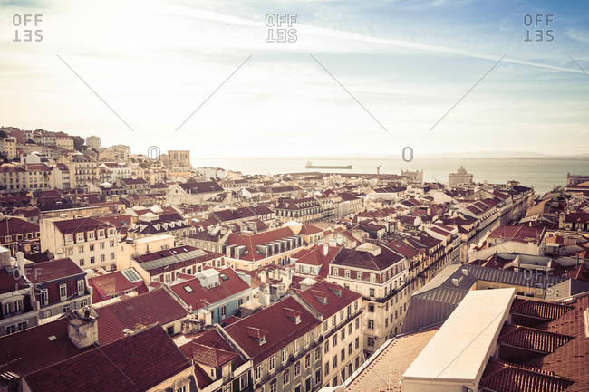 Portugal- Lisbon- cityscape with Tejo River in the background