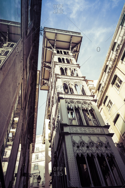 Portugal- Lisbon- view to Santa Justa Lift from below