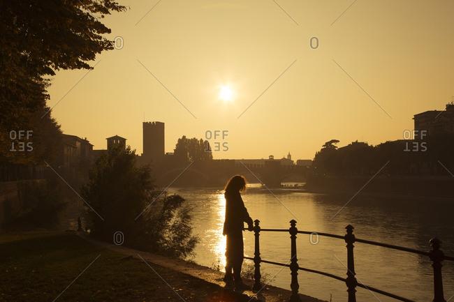 Italy- Verona- Adige at sunset
