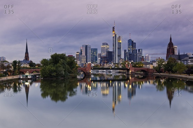 Germany- Hesse- Frankfurt- Skyline of financial district