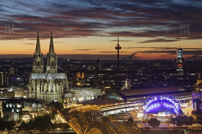 Germany- Cologne- view to the lighted city from above at evening twilight
