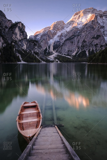 Italy- South Tyrol- Pragser Wildsee- boat at jetty