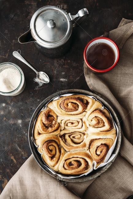 Home-baked cinnamon roll cake