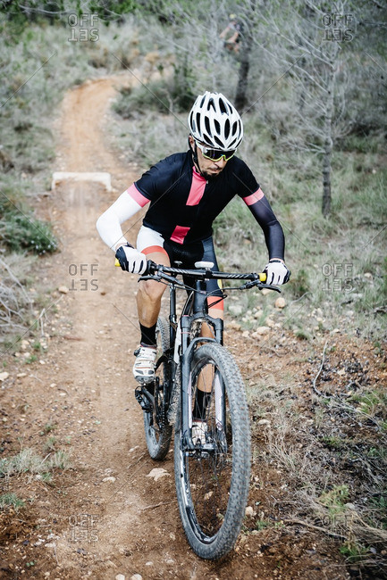 Mountain biker on forest trail