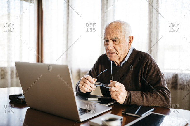Senior photographer looking at laptop at home