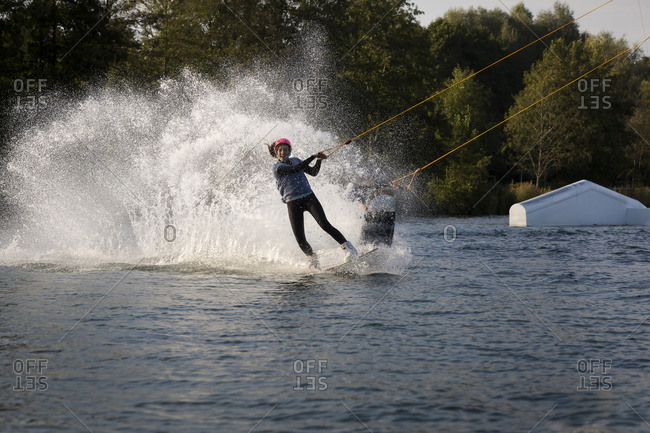Couple wakeboarding