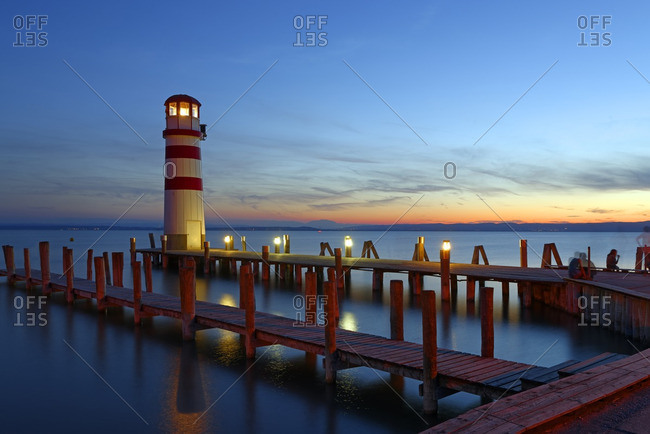 Austria- Seewinkel- Podersdorf- lighthouse at twilight