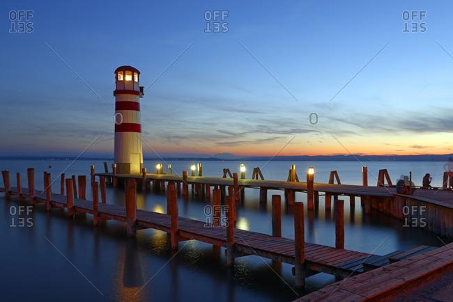 Austria- Seewinkel- Podersdorf- lighthouse at twilight
