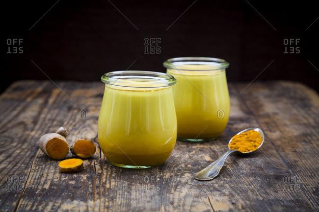 Two glasses of curcuma milk