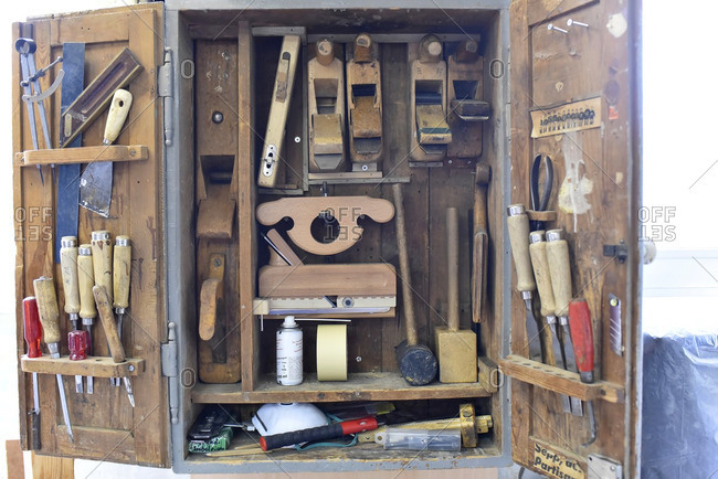 Tool cabinet in a carpentry