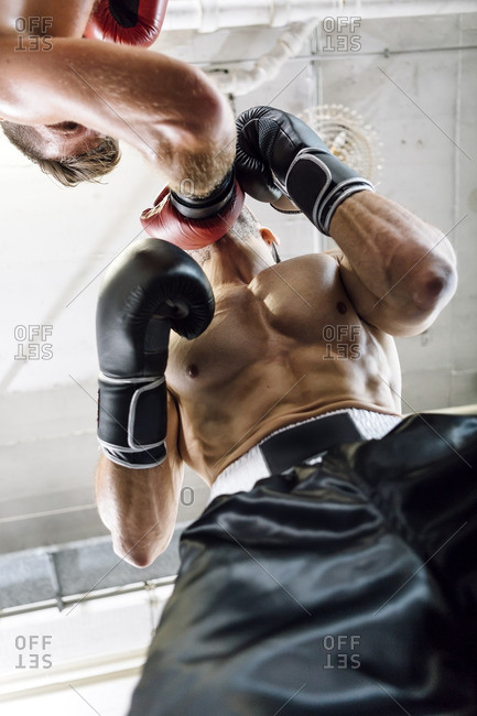 Low angle view of boxer hitting opponent