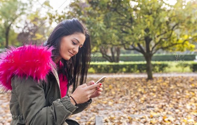 Young woman looking on cell phone in a park in autumn