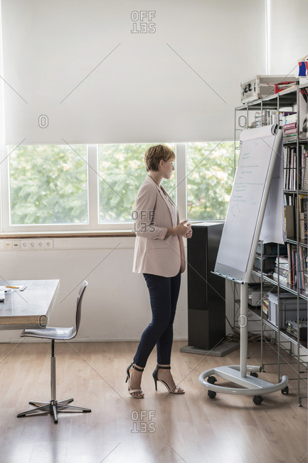 Businesswoman standing at flipchart in modern conference room