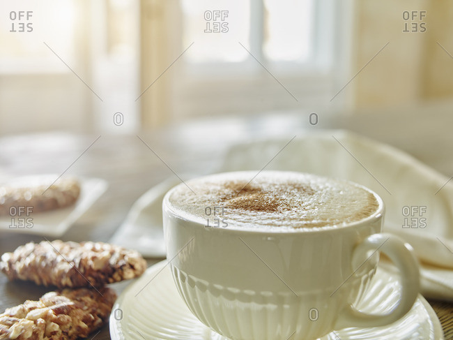 Cup of Cappuccino sprinkled with cinnamon powder